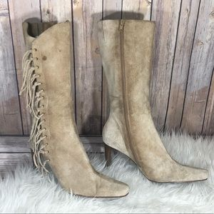Mossimo cream fringe pointy distressed boots 10